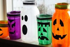 Halloween Mason Jar Lights - Mason Jars of all sizes, Colored Tissue Paper, Mod Podge, Paint Brush, Glue Stick & Black Paper