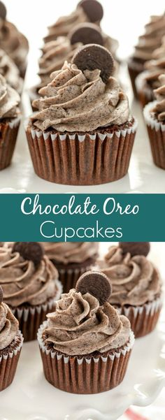 Chocolate oreo cupcakes are a decadent, delicious treat perfect for anytime! These cupcakes are soft, light, moist chocolate cupcakes topped with an easy oreo buttercream frosting. These chocolate oreo cupcakes are the ultimate dessert for oreo lovers! Homemade Desserts, Best Dessert Recipes, Cupcake Recipes, Easy Desserts, Baking Recipes, Cookie Recipes, Delicious Desserts, Homemade Vanilla, Cupcake Toppings