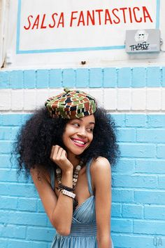 Blue + Beanie + Long Curls #afrochic