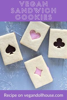 These vegan sandwich cookies are a vanilla cookie filled with strawberry white chocolate and dark chocolate ganache, decorated to look like a deck of cards. These are a photo-worthy addition to any Alice in Wonderland themed picnic, party, or tea party, but would also be fun for a poker night, board game night, or trip to Vegas. #vegandollhouse #vegan #recipe #cutefood #aliceinwonderland #hearts #diamonds #clubs #spades #casino #games #cookies #cookierecipe Vegan Sweets, Vegan Desserts, Vegan Teas, Vegan Party Food, Vanilla Cookies, Sandwich Cookies, Vegan Butter, Vegetarian Chocolate, Vegan Baking