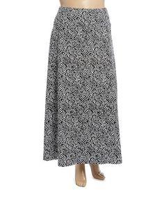 Look at this #zulilyfind! Black & White Abstract Knit Maxi Skirt - Plus #zulilyfinds