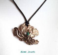 Collana le fleur. Art Clay bronze e Malachite