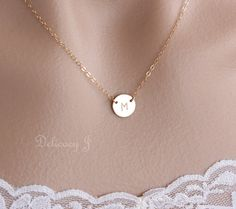 Initial necklace Personalize initial disc necklace by DelicacyJ, $28.00