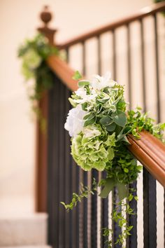 Wedding floral arrangement for a staircase banister