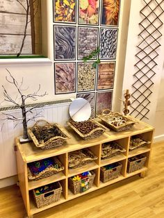 Interesting storage option using shallow wicker trays Wall decor Preschool Classroom Setup, Reggio Emilia Classroom, Reggio Inspired Classrooms, Montessori Classroom, Classroom Organisation, New Classroom, Classroom Environment, Classroom Setting, Classroom Design