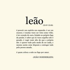 Poema Leão Astrology And Horoscopes, Zodiac Signs Leo, The Words, Trivia, Thoughts, Instagram Posts, Dani, Lion, Wallpapers
