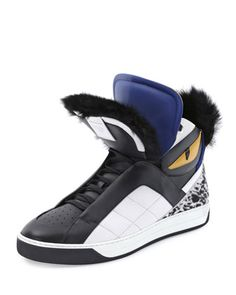 Monster Fur-Trimmed High-Top Sneaker  by Fendi at Neiman Marcus.