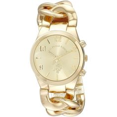 U.S. Polo Assn. Gold-Tone Link Bracelet Watch ($20) ❤ liked on Polyvore featuring jewelry, watches, gold-tone watches, bracelet watch, watch bracelet, gold colored jewelry and dial watches