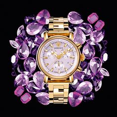 In steel or IP rose gold, the lavish Day Glam watch is the ultimate chic statement. #VersaceWatches #Versace