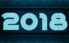 Download wallpapers 2018 year, 4k, blue neon, art, metal background, 2018, New Year 2018, metal grid, creative