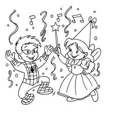 Leuk voor kids kleurplaat ~ Verkleed met confetti strooien