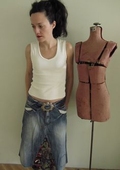 SALE / Upcycled Repurposed Jeans and by GarageCoutureClothes, $39.00