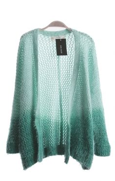 Blue Gradient Knitted Loose Cardigan Sweater