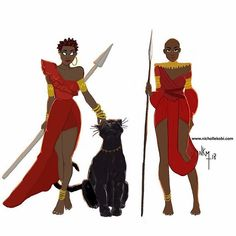 I am in love with @nichollekobis Black panther illustration #blackart #blackpanther #africanart  New week coming up meet it like the warrior you are