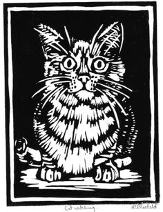 Linocut by Helen Maxfield Cat Watch, Linoprint, Art Pop, Wood Engraving, Aboriginal Art, Cat Drawing, Linocut Prints, Art Plastique, Woodblock Print