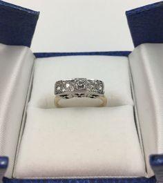 Antique Art Deco Style 14k Gold 13 Diamond Ring Size 6 #ArtDeco