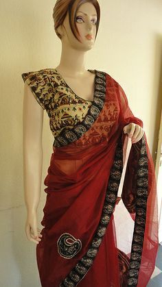 Red kota cotton designer Kalamkari saree