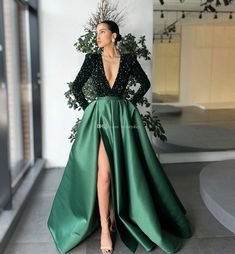 2021 Dark Green Elegant Evening Dresses With Long Sleeve Dubai Arabic Sequins Satin Prom Gowns Party Dress Deep V-Neck High Split Party Dresses For Women, Ball Dresses, Ball Gowns, Evening Dresses, African Prom Dresses, African Wedding Dress, Dark Green Prom Dresses, Green Dress, Formal Dresses