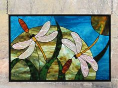 Stained Glass Double Dragonfly and Cattail Panel. $330.00, via Etsy.
