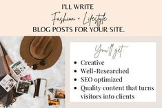 I will write fashion and lifestyle blogs for your site