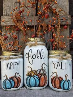 Happy Fall Yall painted mason jars, case mason jars, pumpkins, fall decor Source by graciepflug Mason Jar Pumpkin, Fall Mason Jars, Christmas Mason Jars, Mason Jar Diy, Mason Jar Crafts, Quart Size Mason Jars, Craft Font, Mason Jar Projects, Diy Projects