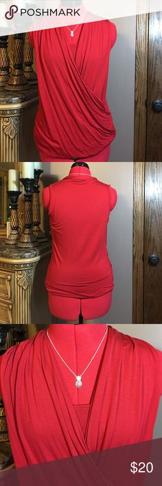 "Cherry Red Mock Wrap Top 95% Rayon 5% Spandex. My favorite material!  Soft with a beautiful drape!  Very figure flattering!  True to size. Mock wrap. 22"" Shoulder to Hem. Stunning cherry red color.  Worn twice Liz Claiborne Tops Blouses"