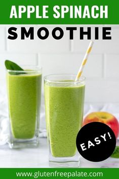 This Apple Spinach Smoothie is creamy, perfectly sweet, and filling. It's made with simple, healthy ingredients and its packed with healthy fats and protein. I've included add-in options. Apple Spinach Smoothie, Spinach Smoothie Recipes, Turmeric Smoothie, Apple Smoothies, Avocado Smoothie, Vegan Smoothies, Easy Smoothies, Gluten Free Drinks, Easy Gluten Free Desserts