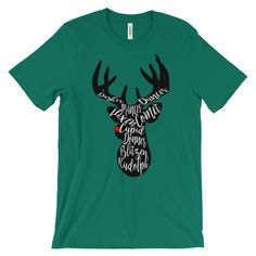 Black Rudolph Silhouette Unisex Christmas T-Shirt  This super-soft, baby-knit t-shirt looks great on both men and women – it fits like a well-loved favorite. Made from 100% cotton, except for heather colors, which contain polyester.  • 100% ring-spun cotton (heather colors contain polyester) • Baby-knit jersey • Shoulder-to-shoulder taping • Cover stitched and hemmed sleeves • Side-seamed