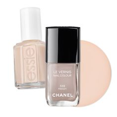 The Prettiest Mani-Pedi Combos to Try Now - Tone-on-Tone Beige - try a single coat of each on your toes and just the Essie on fingers