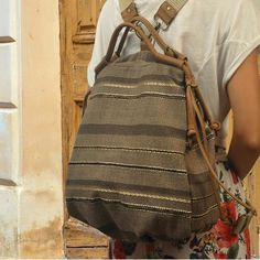 Backpack in striped brown cotton canvas-leather,  called Katerina,MADE TO ORDER by iyiamihandbags on Etsy