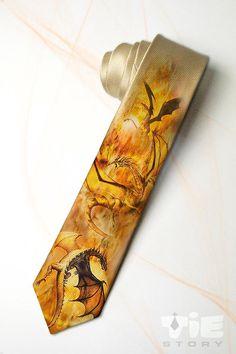 Golden Dragons men's necktie in fantasy style. Fall by tiestory