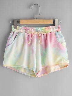 Shorts en tonos acuarela con cintura con cordón -Spanish Romwe Sitio Móvil