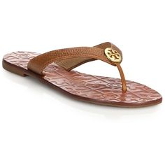 Tory Burch Thora Tumbled Leather Thong Sandals (165 CAD) ❤ liked on Polyvore featuring shoes, sandals, apparel & accessories, bleach, toe thongs, cushioned shoes, toe thong sandals, rubber sole shoes and bleach shoes