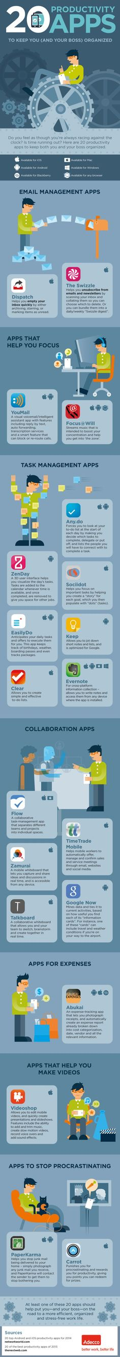 Technology to aid productivity  In this technologically advanced age, it would be amiss to not mention apps that can help boost our productivity.  The infographic below shares 20 apps that help you re