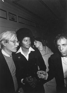 Andy Warhol, Michael Jackson, and Jay Goode at Studio 54 (1978)