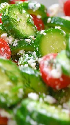 Cucumber Recipes, Best Salad Recipes, Vegetable Recipes, Diet Recipes, Vegetarian Recipes, Cooking Recipes, Healthy Recipes, Recipe For Cucumber Salad, Cucumber Salad Dressing