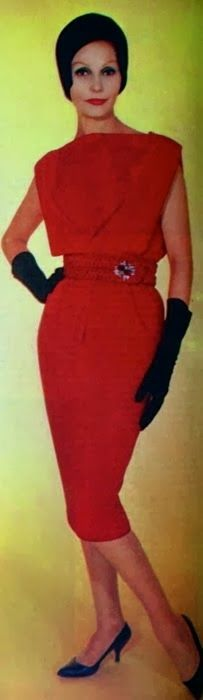 PIERRE CARDIN, Rosita (Dutch) December 1960 red sheath wiggle dress sleeveless pencil skirt waist belt hat gloves shoes black color photo print ad model 60s designer couture