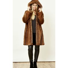 Faux England Thorens Vintage Faux Fur Hooded Coat ($330) ❤ liked on Polyvore featuring outerwear, coats, brown, faux fur coat, hooded coat, vintage faux fur coat, fake fur coats and vintage coats
