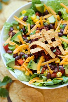 Taco Salad - All the flavors of a taco in a healthy salad with a refreshing, tangy lime vinaigrette!