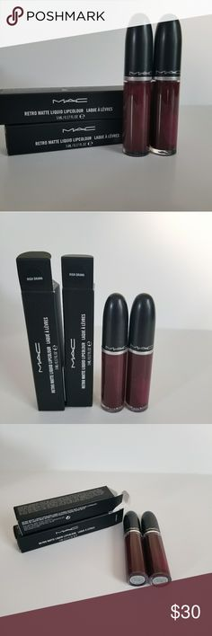 2 Mac retro matte liquid lip colour .HIGHT DRAMA New. 100% authentic.   2 Mac retro matte liquid lip colour. Shade: HIGHT DRAMA.  Like Wine color, but beautiful   Price is firm. MAC Cosmetics Makeup Lip Balm & Gloss