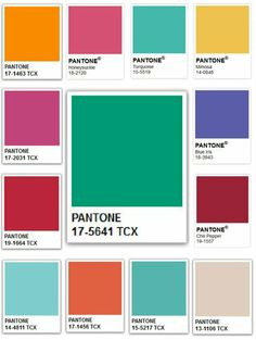 Pantone Colors of the Year, 2001-2013 | Emerald, shown center (2013); clockwise from top left: Tangerine Tango (2012), Honeysuckle (2011), Turquoise (2010), Mimosa (2009), Blue Iris (2008), Chili Pepper (2007), Sand Dollar (2006), Blue Turquoise (2005), Tigerlily (2004), Aqua Sky (2003), True Red (2002), and Fuchsia Rose (2001)