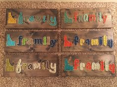"""Custom Order: """"Framily"""" on an 18x8 board  #StringArt #ExcellThreads To order, email: excell.threads@gmail.com Custom orders also available."""
