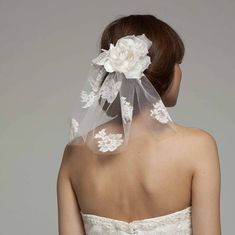 Short Lace Bridal Veil With Silk Flower Short Bride, Short Wedding Hair, Lace Bridal, Lace Wedding, Wedding Flowers, Flower Veil, Short Veil, Bride Veil, Vintage Veils
