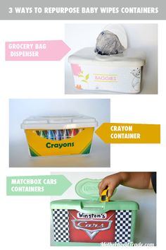3 ways to repurpose a baby wipe container (w/ free printable labels!) This is perfect for all the 30 containers of wipes I have left! Baby Wipe Box, Wipes Box, Grocery Bag Dispenser, Printable Labels, Free Printable, Baby Wipes Container, Organization Hacks, Organizing Tips, Household Organization