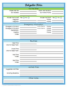 31 Days of Home Management Binder Printables: Day #21 Babysitter Notes