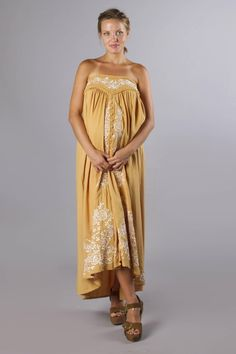 """Abbey Road"" maternity maxi skirt / strapless dress - Gold with floral embroidery Fillyboo - Boho inspired maternity clothes online, maternity dresses, maternity tops and maternity jeans. Maternity Maxi Skirts, Maternity Jeans, Maternity Tops, Maternity Fashion, Maternity Style, Maternity Clothes Online, Baby Shower Dresses, Fashion Labels, Gold Dress"