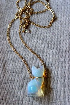 Cat necklace, opalite kitty pendant, tiny Swarovski bead  collar on a gold chain. One of a kind
