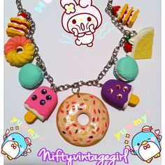 Kawaii donut and desserts charm necklace