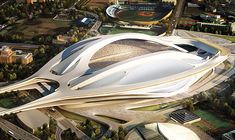 Zaha Hadid wants to win back Tokyo 2020 Olympic stadium. Zaha Hadid has taken one more attempt - this time in collaboration with Nikken Sekkei. Organic Architecture, Futuristic Architecture, Contemporary Architecture, Amazing Architecture, Architecture Interiors, Chinese Architecture, Biomimicry Architecture, Zaha Hadid Design, Zaha Hadid Architects