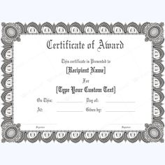 Blank award certificate template for word chose from several free award certificate 23 yadclub Images